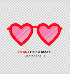 Heart shaped pink eyeglasses vector