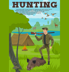 hunting sport banner with hunter animal and bird vector image