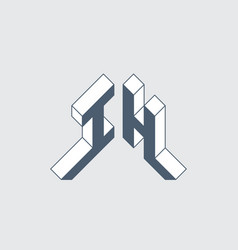 Ih - logo or 2-letter code isometric 3d font vector