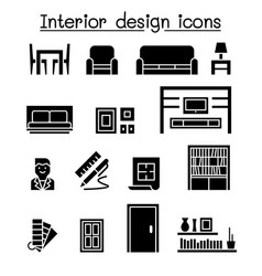 interior decoration furniture icon set vector image