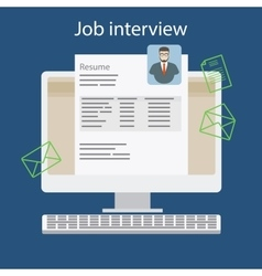 Job interview with resume on computer vector image