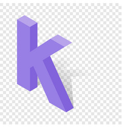 k letter in isometric 3d style with shadow vector image