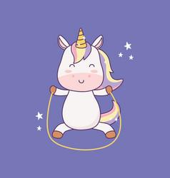 Kawaii little unicorn with jump rope cartoon vector