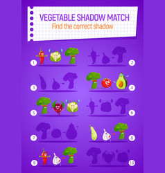 Kids game shadow match with cartoon vegetables vector