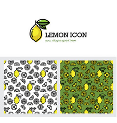 lemon icon and seamless pattern vector image