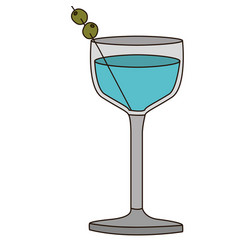 light coloured silhouette of glass cocktail with vector image