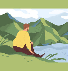 Man resting in nature alone thoughtful person vector