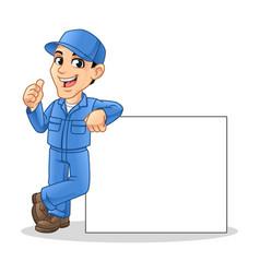 Mechanic man leaning empty board vector