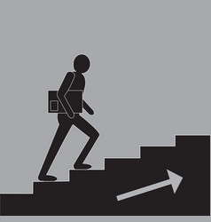 Men blak figure silhuette walking upstairs vector