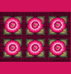 mexican floral embroidery border seamless patterns vector image