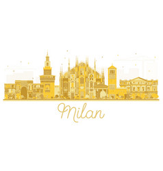 milan italy city skyline golden silhouette vector image