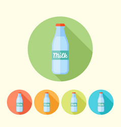 Milk bottle round icons with long shadow vector