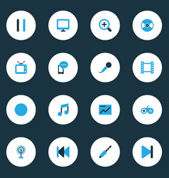 Multimedia colorful icons set collection of audio vector