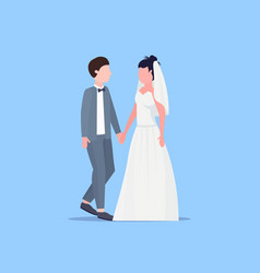 newly weds man woman standing together romantic vector image