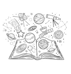 Open book with universe planets stars and vector