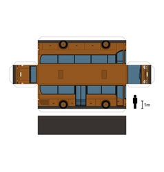 Paper model a brown bus vector