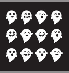 Pattern set emotions white n black bacground ghost vector