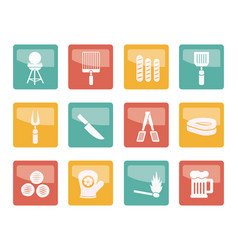 picnic barbecue and grill icons vector image