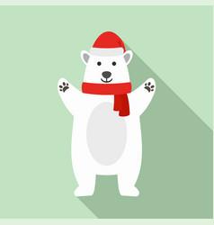 Polar bear xmas icon flat style vector