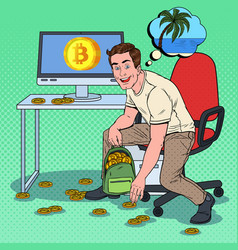 pop art businessman put bitcoins in backpack vector image