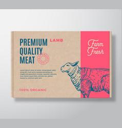 premium quality lamb meat packaging label vector image