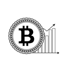 price bitcoin up line style vector image