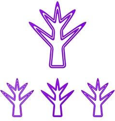 Purple line plant logo design set vector