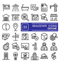 Realestate line icon set house symbols collection vector