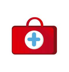 Red suitcase healthcare with blue hospital symbol vector