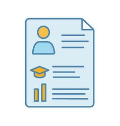 Resume color icon vector
