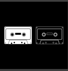 retro audio cassette icon set white color flat vector image