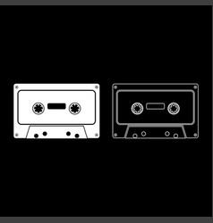 Retro audio cassette icon set white color flat vector