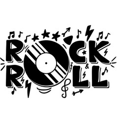 Rock and roll hand drawn phrase vector