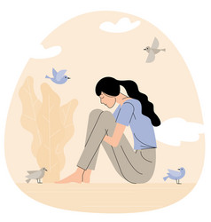 Sad girl sitting and hugging her knees vector