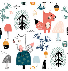 seamless childish pattern with cute squirrels vector image
