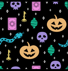 seamless pattern of skull pumpkin and others vector image