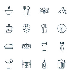 Set 16 eating icons includes wineglass vector