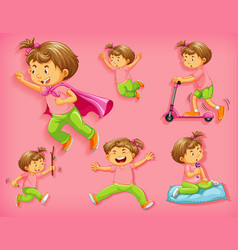 set cute boy with different positions isolated vector image