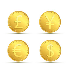 Set icons of gold coins currency dollar euro vector