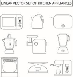 set linear kitchen appliances vector image