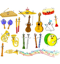 Set of funny cartoon musical instruments for kids vector