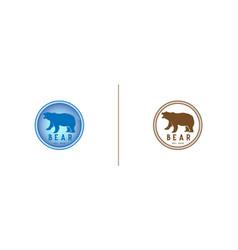 Set of vintage bear logo design template in vector