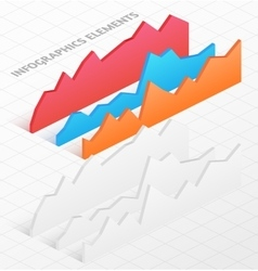 set white and colorful isometric graphs vector image