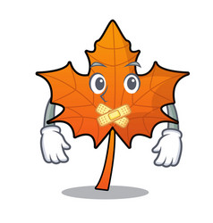 Silent red maple leaf mascot cartoon vector