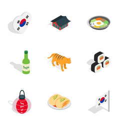 South korea attractions icons isometric 3d style vector
