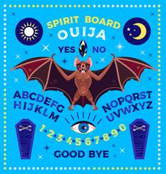 Spirit board with bat ouija board vector