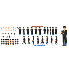 student character model sheet with walk cycle vector image