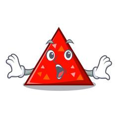 Surprised triangel mascot cartoon style vector