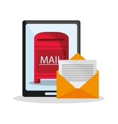 Tablet and envelope of mail concept vector