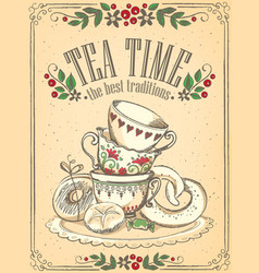 tea time with cute cups freehand drawing sketch vector image